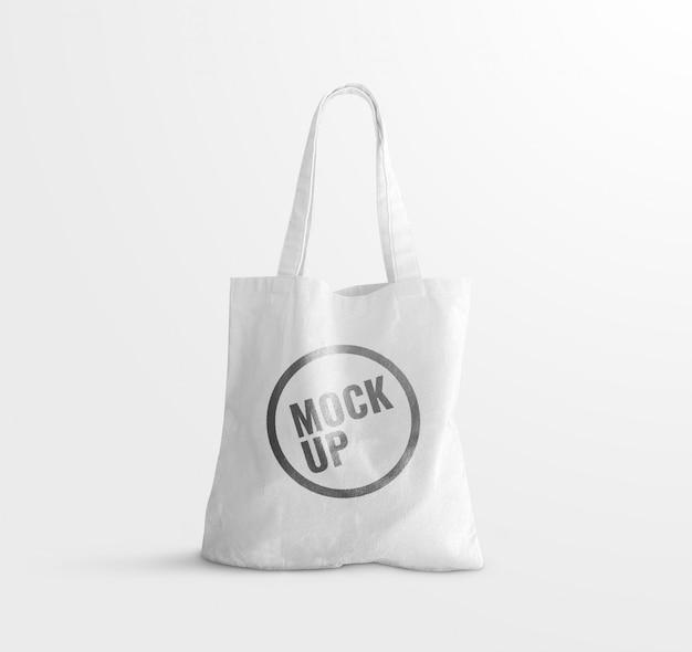 Maquete de sacola de lona branca