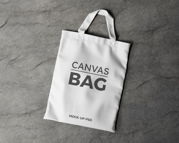 Maquete de sacola de lona em fundo cinza