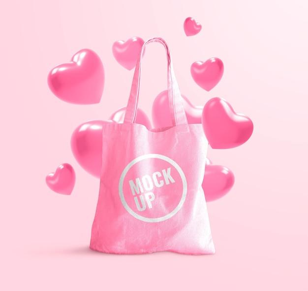 Maquete de sacola de namorados