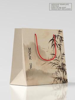 Maquete de sacola de papel de compras