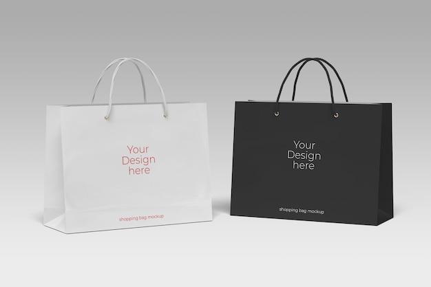 Maquete de sacola de papel de duas compras