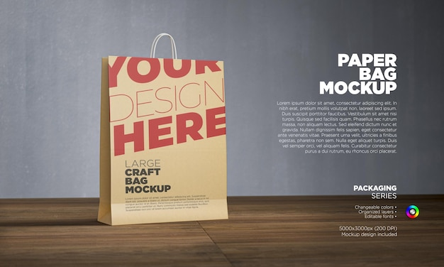 Maquete de sacola de papel em renderização 3d