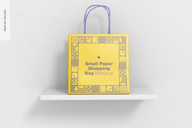 Maquete de sacola de papel pequena, vista frontal