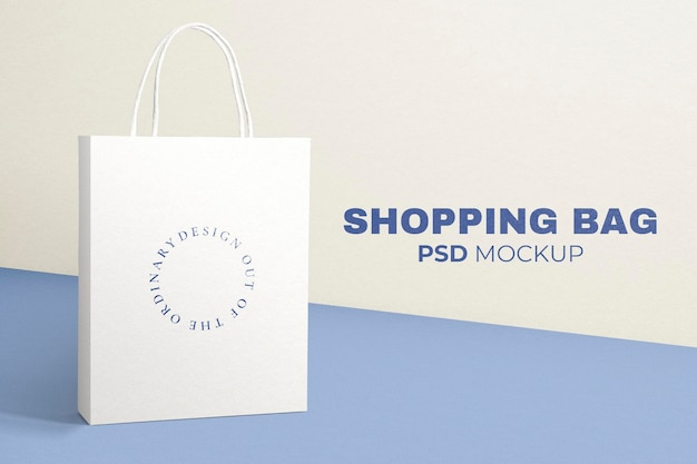 Maquete de sacola de papel psd em estilo minimalista