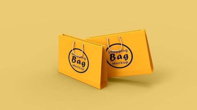 Maquete de sacola de presente de papel com vista em perspectiva do cabo de corda