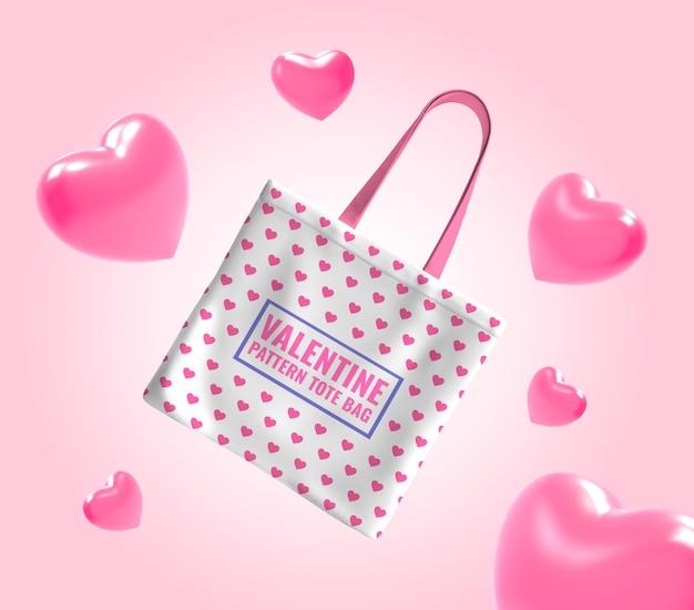 Maquete de sacola para namorados