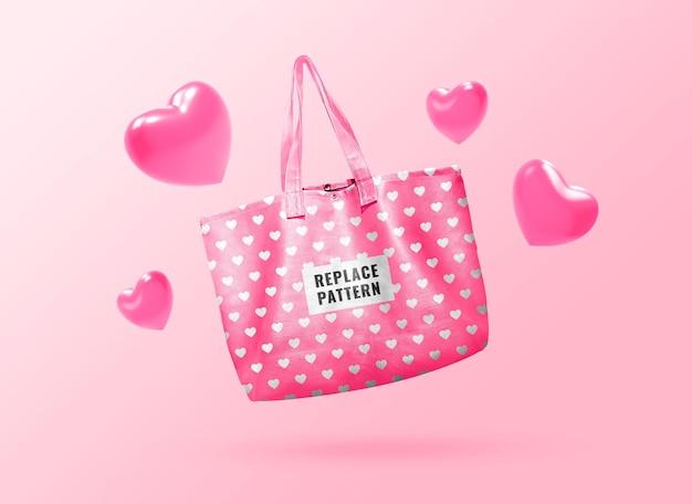 Maquete de sacola rosa pastel