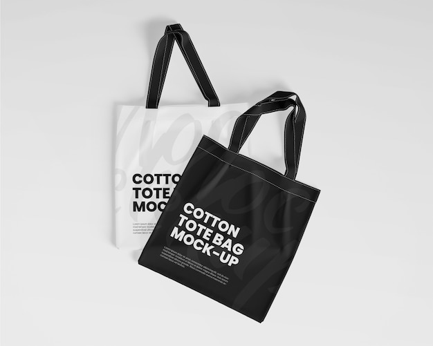 Maquete de sacolas de algodão