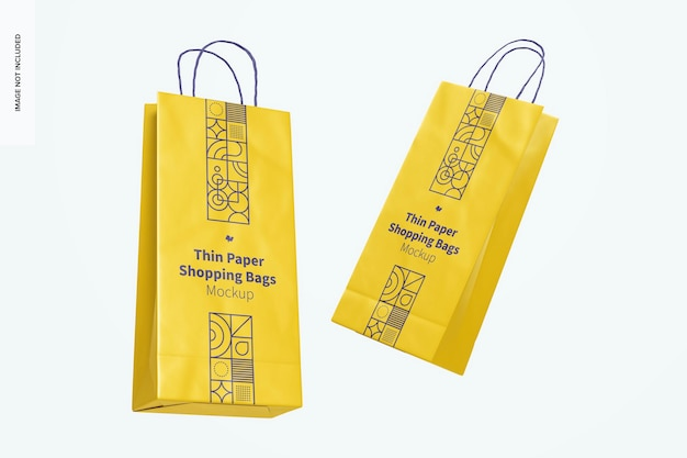 Maquete de sacolas de compras de papel fino, flutuante