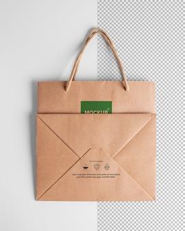 Maquete de sacolas de papel com corda