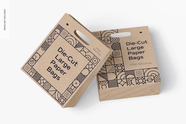 Maquete de sacolas de papel grandes cortadas, vista superior