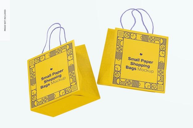Maquete de sacolas de papel pequenas, flutuantes