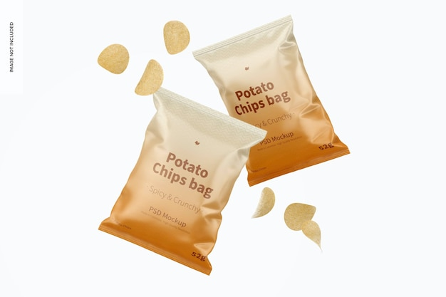 Maquete de sacos de batatas fritas flutuantes