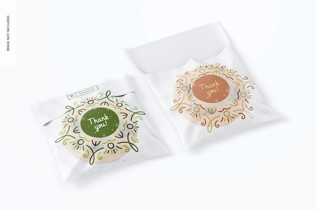 Maquete de sacos de biscoitos de celofane