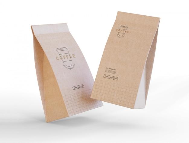Maquete de sacos de café de papel