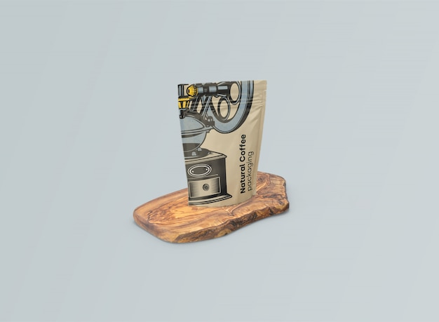 Maquete de sacos de café na mesa de azeitona psd