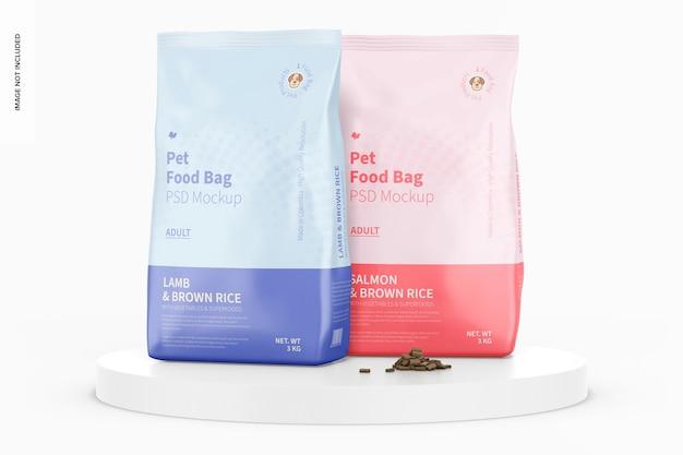 Maquete de sacos de comida para animais de estimação