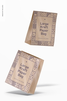 Maquete de sacos de papel kraft grandes, caindo