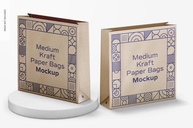 Maquete de sacos de papel kraft médio, perspectiva