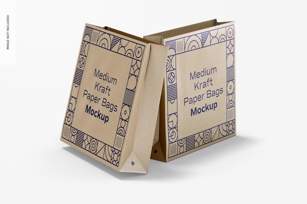 Maquete de sacos de papel kraft médio, vista frontal