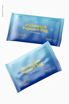 Maquete de sacos de pipoca de micro-ondas, flutuante