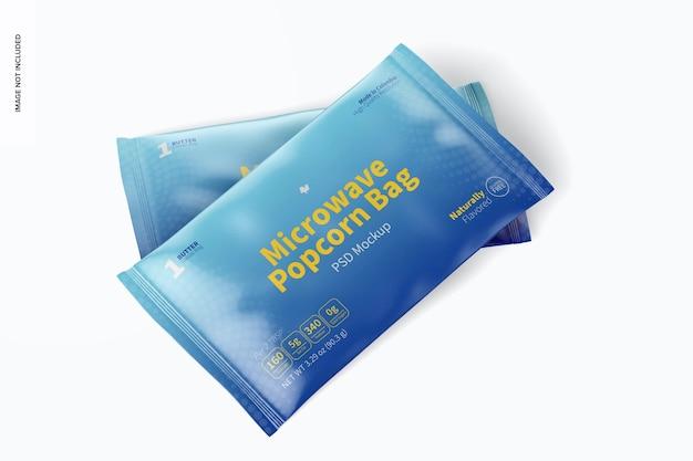 Maquete de sacos de pipoca de micro-ondas, vista em perspectiva