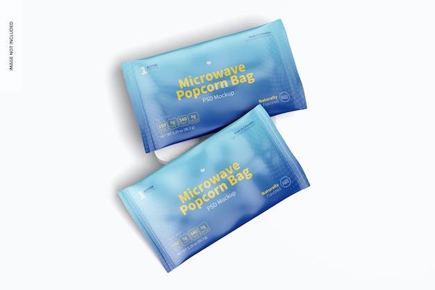 Maquete de sacos de pipoca de micro-ondas, vista superior