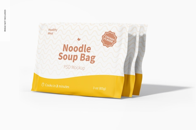 Maquete de sacos de sopa de macarrão, vista esquerda