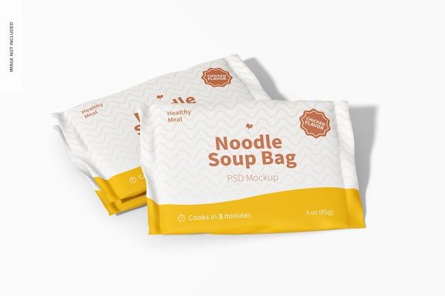 Maquete de sacos de sopa de macarrão