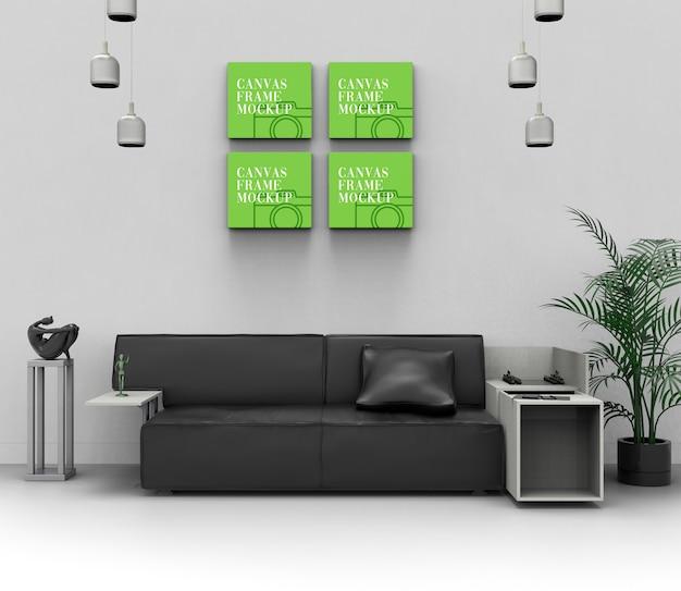Maquete de sala de estar de parede de lona