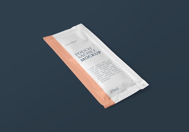 Maquete de saquinho de bolsa de folha retangular