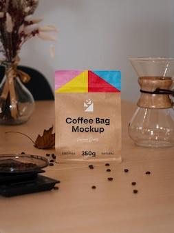 Maquete de saquinho de café pequeno