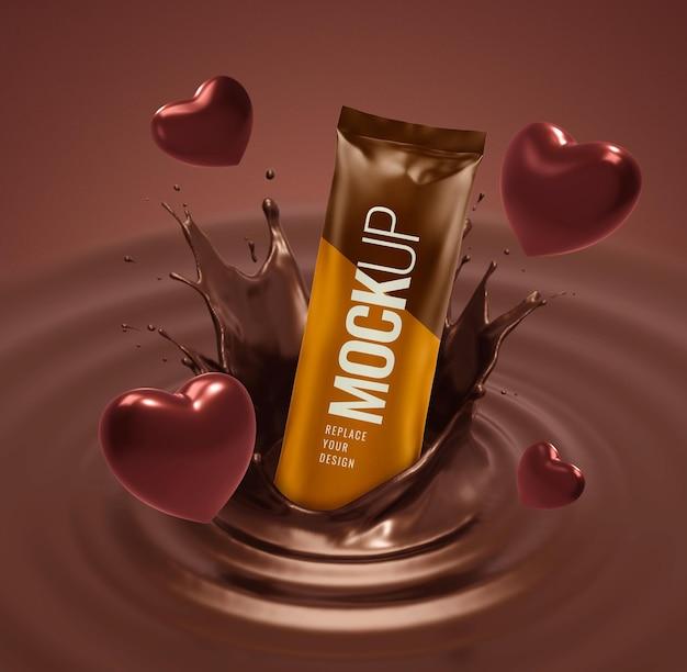 Maquete de saquinho de chocolate com propaganda de coração dia dos namorados