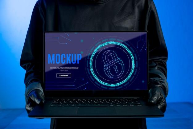 Maquete de segurança digital de laptop com vista frontal