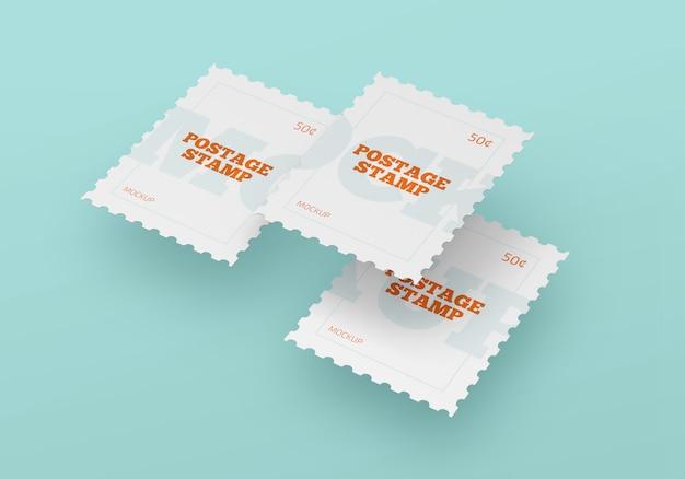Maquete de selo postal em branco