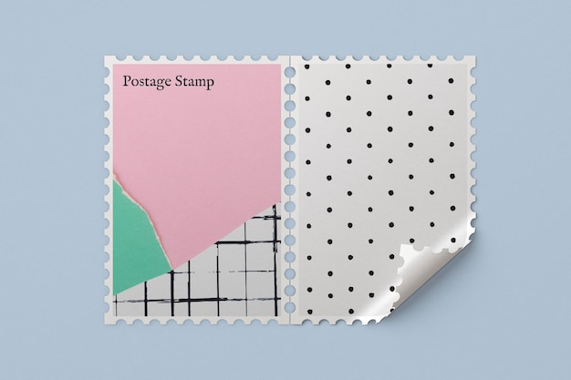 Maquete de selo postal psd com papel rasgado em pastel fofo