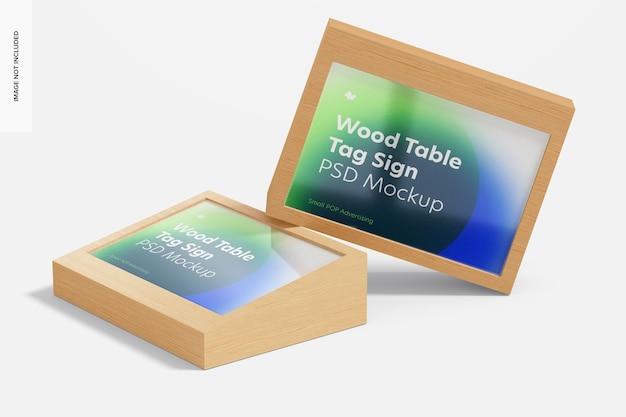 Maquete de sinais de tag de publicidade de mesa de madeira