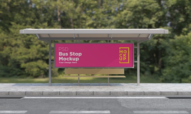 Maquete de sinal de barramento de parada de ônibus renderização 3d