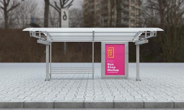 Maquete de sinal de barramento de parada de ônibus renderização 3d Psd Premium