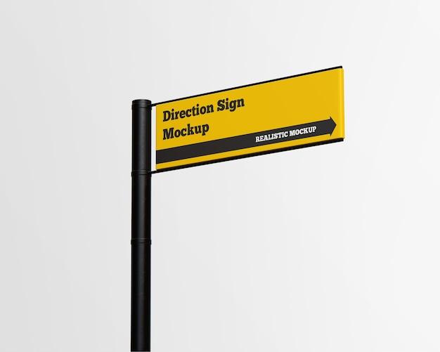 Maquete de sinal de direção isolada