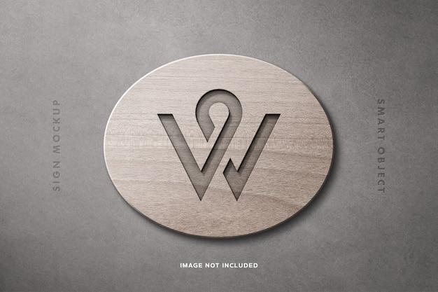 Maquete de sinal de madeira logotipo