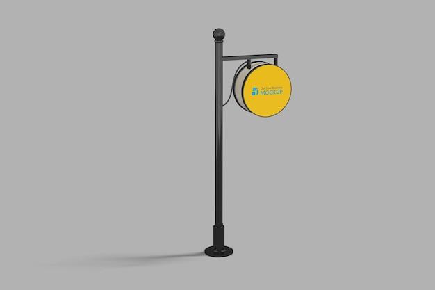 Maquete de sinal de negócios ao ar livre círculo ao ar livre neonbox amarelo