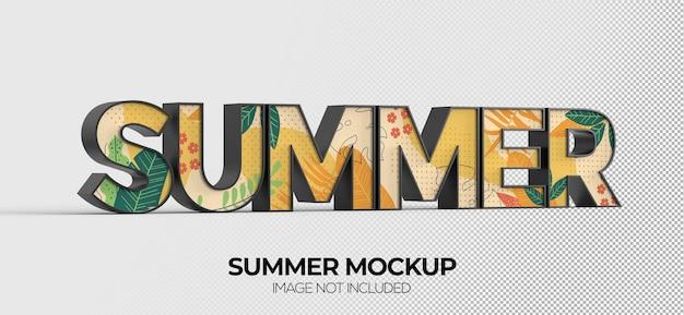 Maquete de sinal de palavra de verão para publicidade ou branding