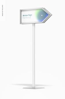 Maquete de sinal de seta para chão