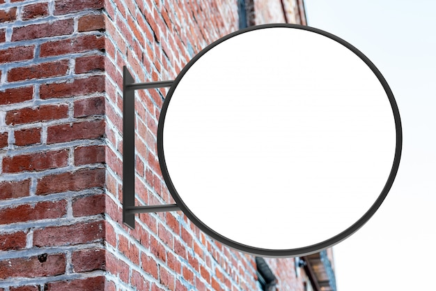 Maquete de sinal redondo branco rua moderna loja logotipo