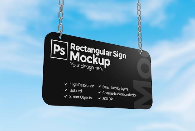 Maquete de sinal retangular com correntes para publicidade ou branding