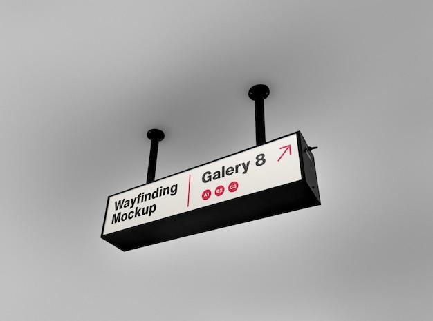 Maquete de sinal retângulo wayfinding