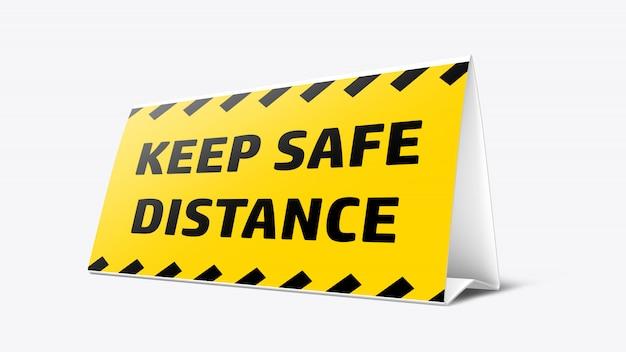 Maquete de sinalização de mesa para novo normal após a pandemia do covid-19 para manter distância