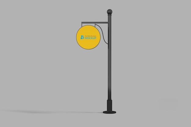 Maquete de sinalização suspensa de círculo externo neonbox amarelo