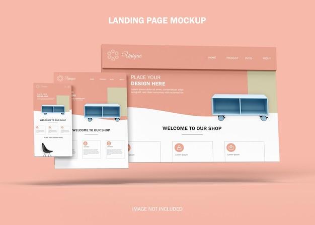 Maquete de site da página de destino responsiva